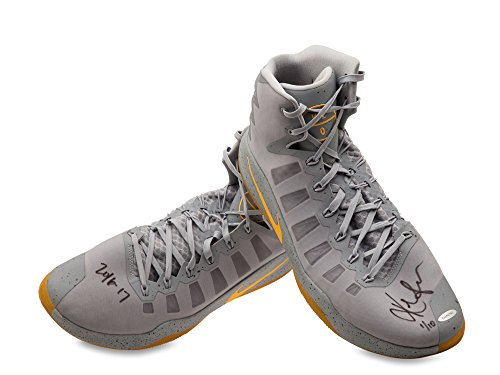 6c9e78b28ccd KEVIN LOVE SIGNED INSCRIBED 2016-17 NIKE HYPERDUNK GRAY YELLOW SWOOSH GAME-WORN  SHOES -L10