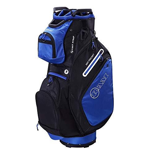 (RAM Golf FX Deluxe Golf Cart Bag with 14 Way Full Length Dividers Blue/Black)