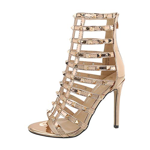 0095 design Rosa Sintético Sandalias Vestir Para Ital De Gold Material Mujer Xk qAd1Px