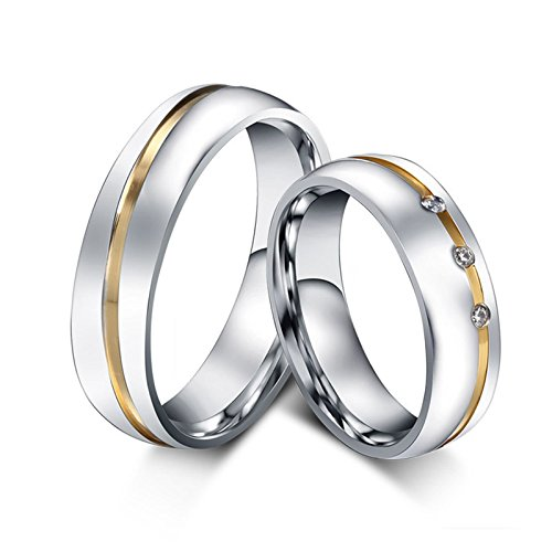 Beydodo Titanium Rings Set for Women Stainless Steel Ring Bands Round CZ Women Size 7 & Men Size 12 by Beydodo