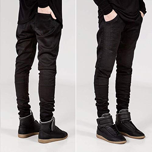 Denim Classiche Moto Da Stretch Cotton Fit Skinny Uomo Nero Slim Jeans Pantaloni Legging Ragazzi dvzxpwq00
