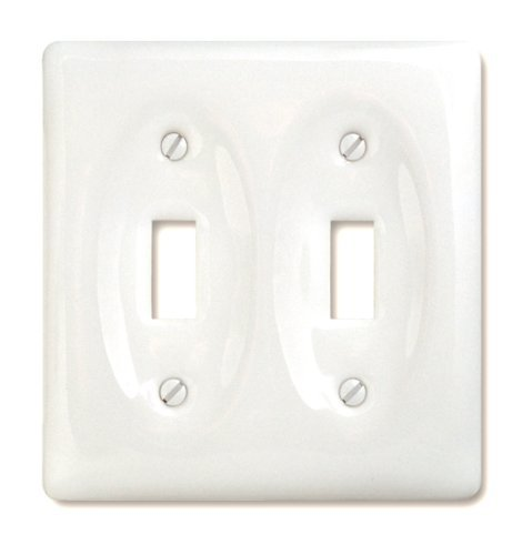Amerelle 3020TTW Classic Ceramic Double Toggle Wallplate, White by - Amerelle Ceramic