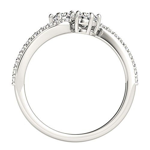 14k White Gold Round cut Two stone Diamond Ring (1/2 cttw, H I, I1 I2) Size 4 9