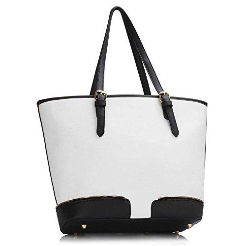 Damen Großen Umhängetaschen Frauen Designer Handtaschen Kunstleder Promi Stil Shopper Neue Trage (B - Lila) A - Schwarz/Weiß FEwzHH