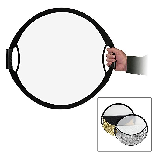 Fotodiox Pro 22'' 5-in-1 Handled Reflector Collapsible Disc w/Easy Hold Handles & Case: Diffusion, White, Black, Silver & Gold by Fotodiox