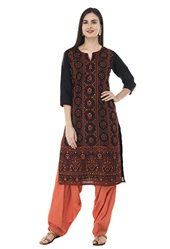 SABHYATA Womens Kurta Indian Kurtis for Women Casual Tunic Kurti Tops Long Dress (X-Large, Black Cotton R Neck)