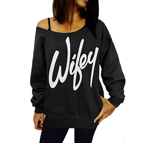 Perman Womens Letter Printed Loose Sweatshirt Casual Pullover Tops Blouse (M, Black)