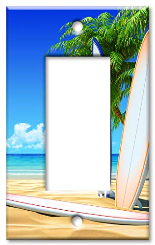 (Art Plates 1-Gang Rocker (Decora) OVERSIZE Switch Plate/OVER SIZE Wall Plate - Surf Boards on the Beach)