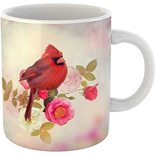 Funny Coffee Tea Mug Gift 11 Ounces Funny Ceramic Pink Animal Male Northern Cardinal in the Rose Garden Red Bird Gifts For Family Friends Coworkers Boss - Rose Garden Mug