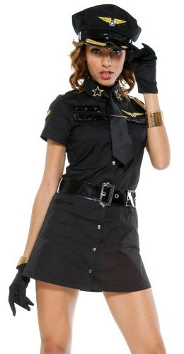Forplay Women's Pleasure Pilot Adult Sized Costumes, Black, (Sexy Pilot Adult Costumes)