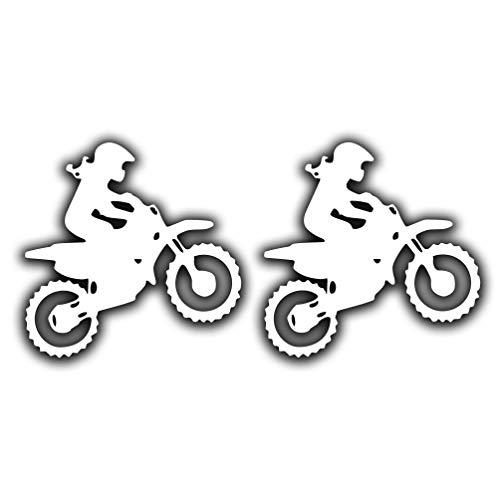 """Dirt Bike Motocross Girl Female Rider Funny Vinyl Sticker 4"""" х 4"""", White"""