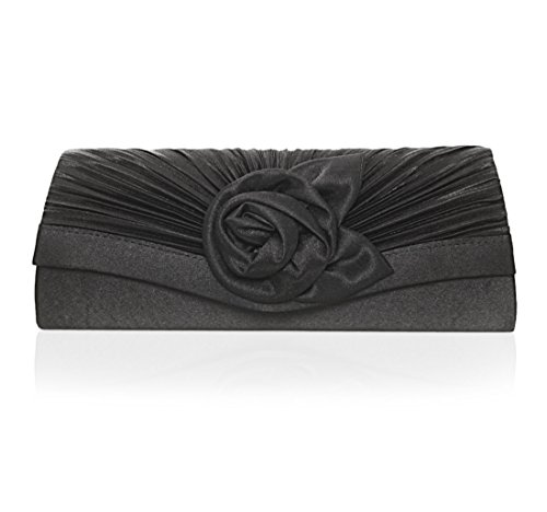 - Damara Women's Satin Pleated Flower Front Evening Bag Clutch Handbag (Black)