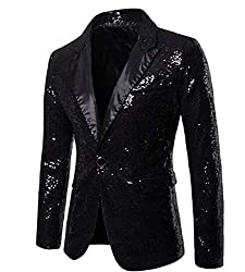 Men Shiny Sequins One Button Jacket