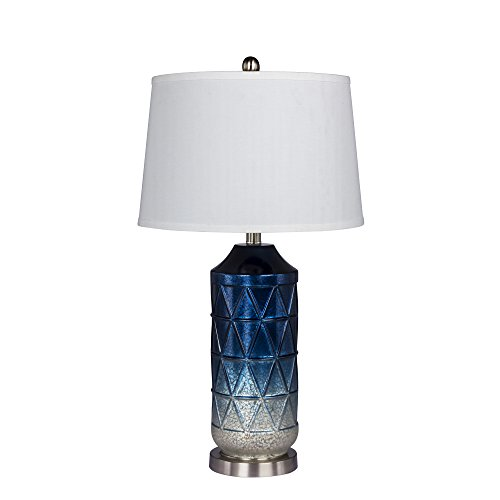 Cory Martin W-5147BLU Fangio Lighting's Diamond Patterned, Column Mercury Glass and Metal Table Lamp, 27.5