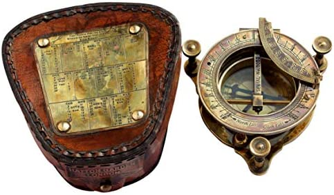MAH Handmade Brass Sundial Compass with Leather Box. C-3177