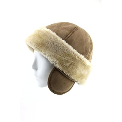 cheap FUR WINTER Faux Sheepskin Shearling Cuff Roller Pill Box Hat With Ear supplies