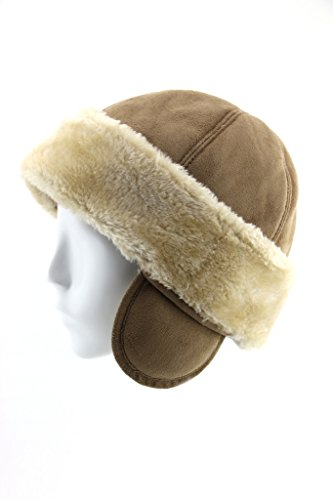 FUR WINTER Faux Sheepskin Shearling Cuff Roller Pill Box Hat with Ear KHK L