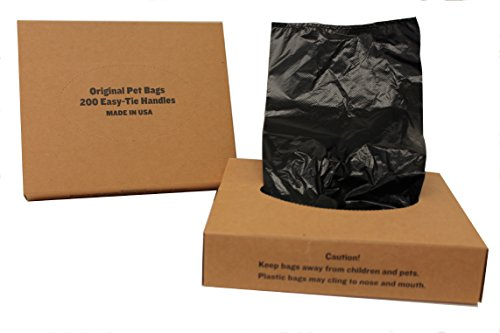 Originalpetbags 200 Black Unscented Easy Open & Easy-tie Handle 15 Strong Leak- Proof Poop Bags Dog Waste Bags Made in USA (not on rolls)