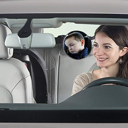 Espejo retrovisor interior del autom/óvil Seguridad autom/ática Vista f/ácil Asiento trasero Espejo ajustable Vista frontal del beb/é Accesorios de acr/ílico para el autom/óvil Negro