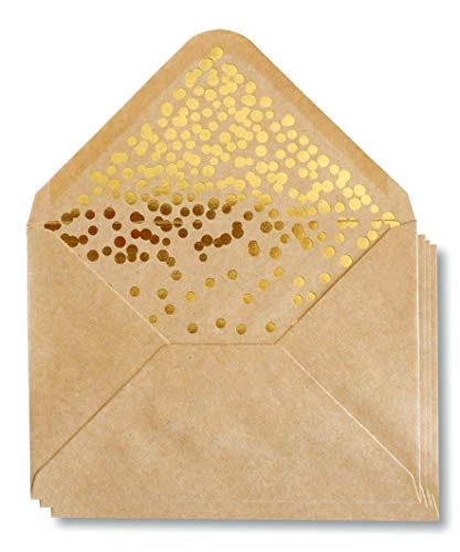 """A2 Kraft Envelopes - 50 Pack Gold Foil Confetti Pressed Luxury Fancy Greeting Card Envelopes 4.5"""" x 5.8"""" for Wedding Announcement, Invitation, Baby Shower, Birthday, Graduation, Christmas, NYE"""