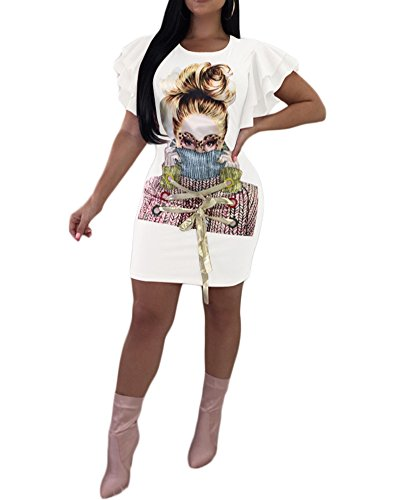 M.Brock Womens Girl Short Sleeve Mini T-Shirt Dress Graphic 3D Print Sexy Bodycon Dress White