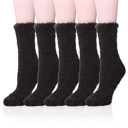 LANLEO 5 Pairs Womens Super Soft Fuzzy Plush Warm Winter Home Sleeping Slipper Socks Solid Black