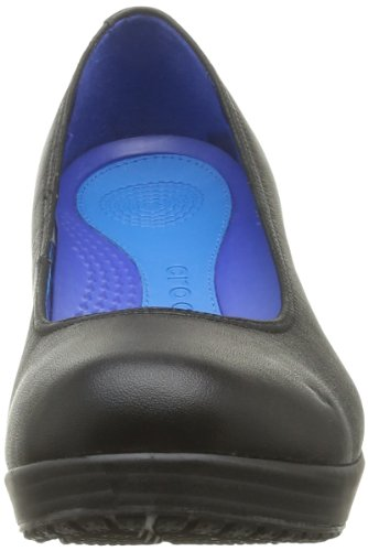 Crocs A-Leigh Closed Toe Wedge - Zuecos de material sintético mujer Nero (Black/Black)