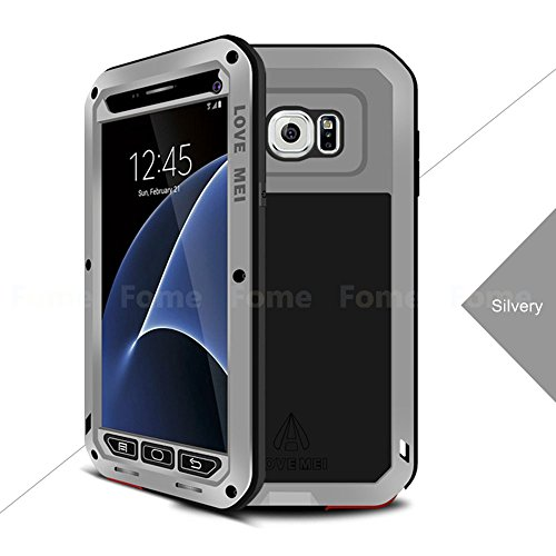 FOME Shockproof Aluminum Metal Gorilla Glass Protection Case Cover for Samsung Galaxy S7 Edge + FOME GIFT (Aluminum Glass Gorilla Case Metal)