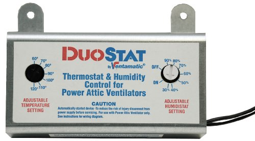 Ventamatic XXDUOSTAT Adjustable Dual Thermostat/Humidistat Control for Power Attic Ventilators (Exhaust Fan Roof compare prices)