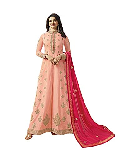 497f0b0aa5 SILK GEORGETTE FABRIC EMBROIDERED AND DIAMOND WORK ANARKALI SUIT:  Amazon.in: Clothing & Accessories