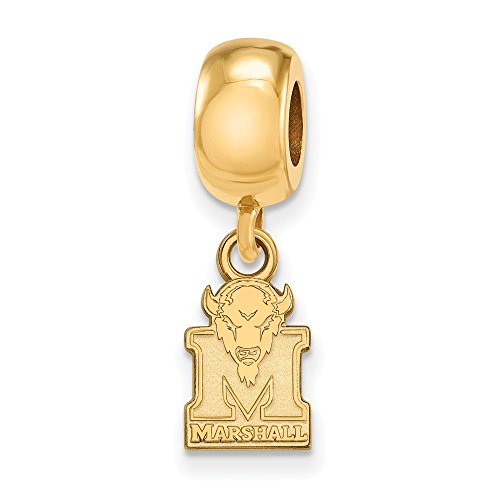 Solid 925 Sterling Silver with Gold-Toned Marshall University Extra Small Dangle Bead Charm Very Small Pendant Charm (7mm x 22mm)