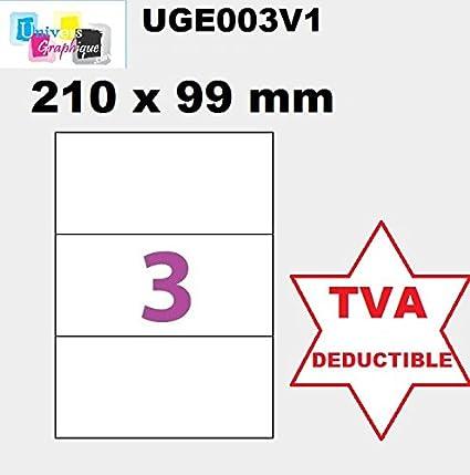50 A4 hoja 4 pegatina 210 X 99 mm etiqueta adhesiva etiqueta ...