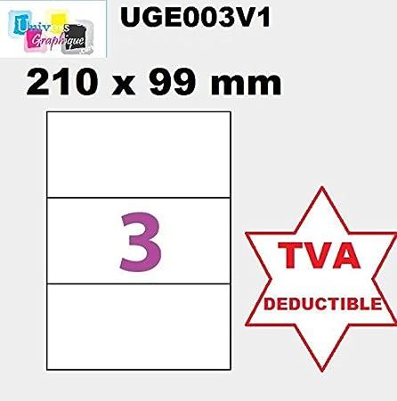 100 A4 hoja de etiquetas 3 adhesivo papel de etiquetas 210 X 99 mm adhesivo para impresoras de chorro de tinta y láser