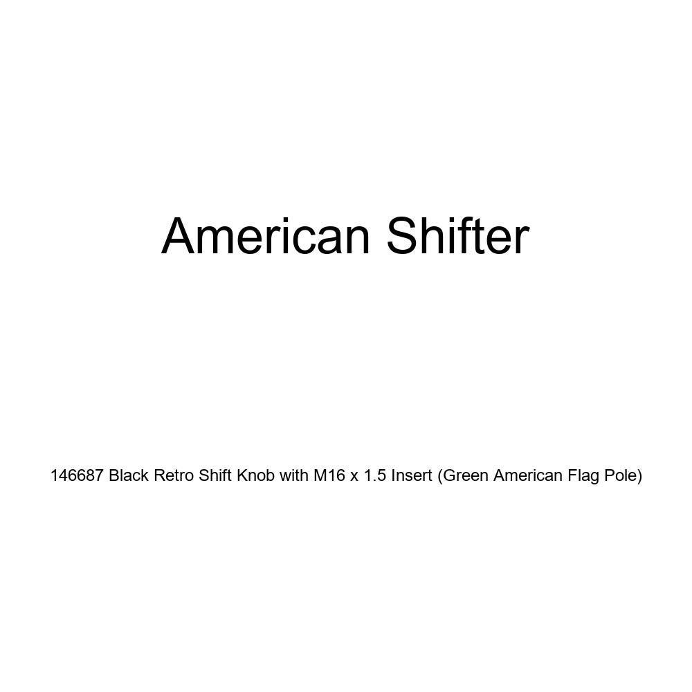 American Shifter 146687 Black Retro Shift Knob with M16 x 1.5 Insert Green American Flag Pole