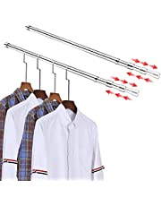 Expandable Closet Rod for Hanging Clothes Curtain Rod with Brackets Closet Hanging Rod for 30-48 Inches Stainless Steel Brush Nickel Closet Clothing Rods 2 Pack