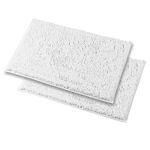 Mayshine 2 Piece 20×31 inch Non-Slip Bathroom Rug Shag Shower Mat Machine-Washable Bath mats with Water Absorbent Soft Microfibers of – White