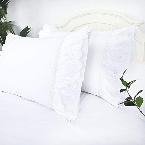 YINFUNG Eyelet Pillow Shams Ruffled Standard White Shabby Chic Lace Farmhouse Pillowcases Set of 2 Pretty Elegant Cotton Country French Cottage Embroidered Floral Victorian Crochet Trim 20x26