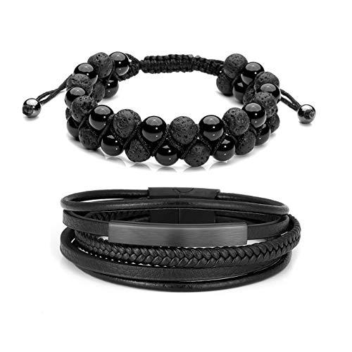 Jovivi 2 Pcs Lava Rock Essential Oil Diffuser Beads Bracelets Leather Beaded Bracelet Set Men/Women Stainless Steel Magnetic Clasp - Beaded Set Clasp
