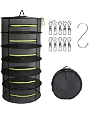 DUOFIRE Herb Drying Rack 6-Layer Hanging Dryer Foldable Mesh Drying Hanger with Zippers