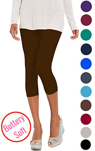 - Lush Moda Extra Soft Capri Leggings - Variety of Colors - Brown, One Size fits Most (XS - XL)