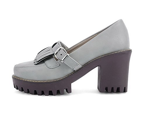 AllhqFashion Damen Ziehen auf Rund Zehe Hoher Absatz PU Leder Rein Pumps Schuhe Grau