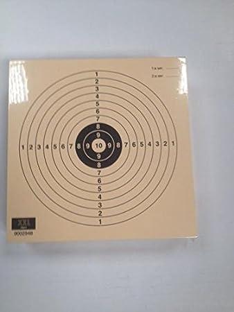 Klamer Paquete de 100 dianas de Tiro Olímpico - Pistola Aire Juvenil 10 m, tamaño 14 * 14 Cm, Fabricadas en cartulina Papel Col de 200 grs, Color Teja, antirreflejos.