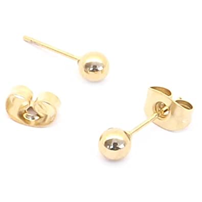 3mm Silver plain ball Surgical steel stud earrings (Fits standard Ear Piercing) EWUsMIiYV0