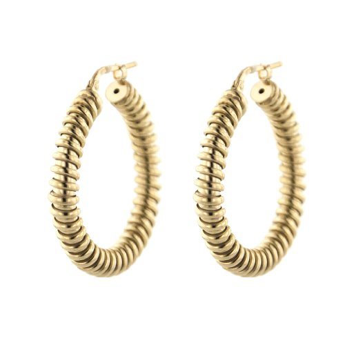 MCS Jewelry Sterling Silver Yellow Gold Plated Ribbed Hoop Earrings