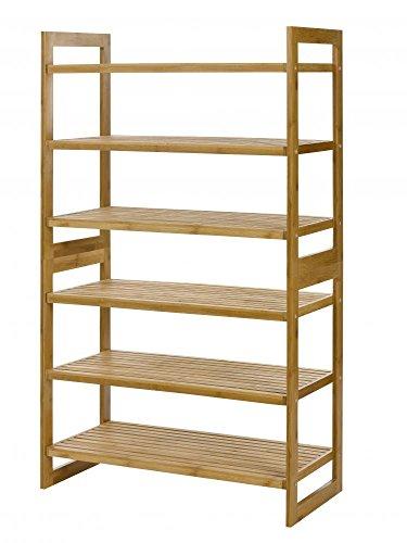 100% Natural Bamboo 6-tier Shoe Rack Entryway Shoe Shelf ...