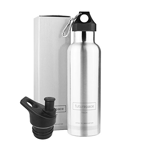 Futurepace Tech Best Stainless Steel Double Walled Vacuum Insulated Water Bottle -Brushed Stainless Steel - 25oz / 750ml - Perfect for Hiking, Camping, Beach, Yoga, Travel