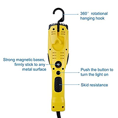 Aceland 1200 Lumen Corded LED Work Light with Outlet in Handle, COB LED, 6foot 16/3 AWG SJTW Cord, Magnetic on back