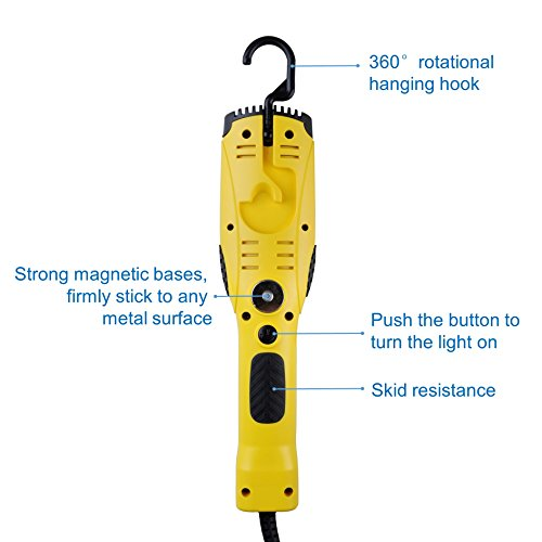 Aceland 1200 Lumen Corded LED Work Light with Outlet in Handle, COB LED, 6foot 16/3 AWG SJTW Cord, Magnetic on back by Aceland (Image #1)