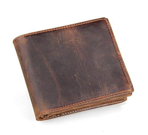 HRS Men's Genuine Leather RFID Blocking Vintage Italian Silm Bifold Wallet Handmade ()