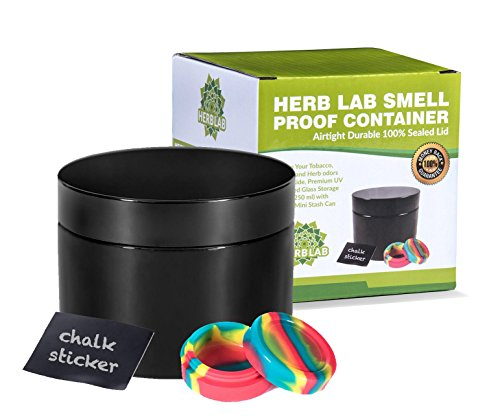Herb Lab Smell Proof Container - Airtight Durable 100% Sealed Lid. Keep Your Tobacco, Coffee, and Herb odors sealed inside | Premium UV Protected Glass Storage Jar (250 ml) with Bonus Mini Stash Can